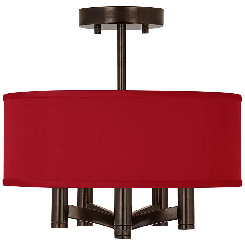 China Red Faux Silk Ava 5-Light Bronze Ceiling