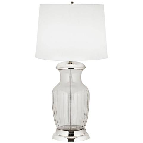 Silvis Glass Urn Clear and Polished Nickel Table Lamp
