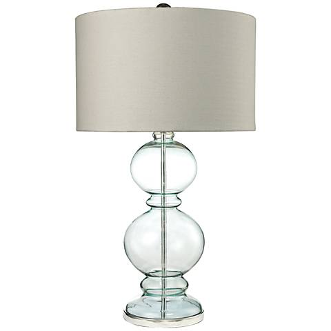 Cress Curvy Clear Light Blue Glass Table Lamp