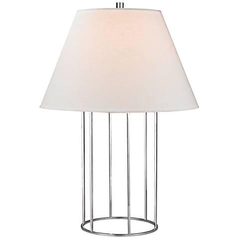 Felicity Barrel Frame Polished Chrome Metal Table Lamp