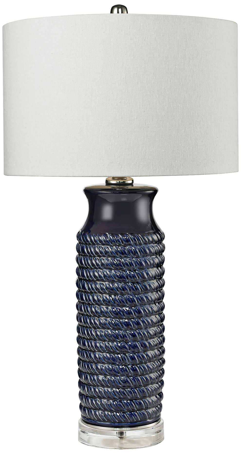 Wrapped Rope Navy Blue Ceramic Table Lamp