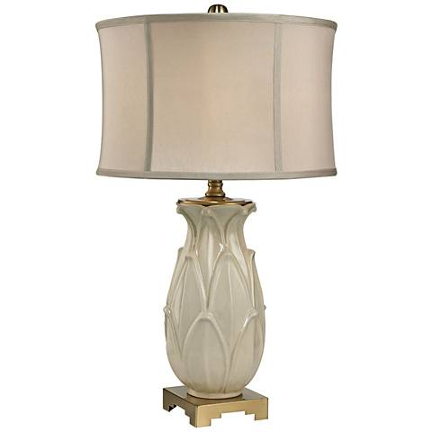 Leaf Glaze Crackle Cream and Brass Ceramic Table Lamp