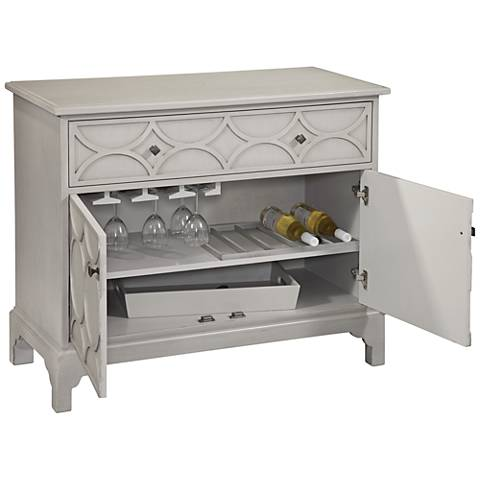 Quinn Gray Hospitality Cabinet with Stemware and Bottle Storage