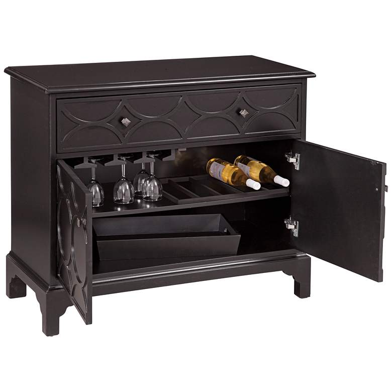 "Quinn 40"" Wide Black Wood Hospitality Bar Cabinet"
