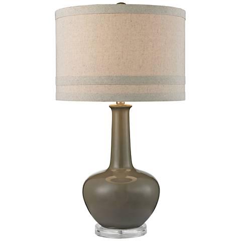 Greta Smooth Gray Ceramic and Acrylic Table Lamp