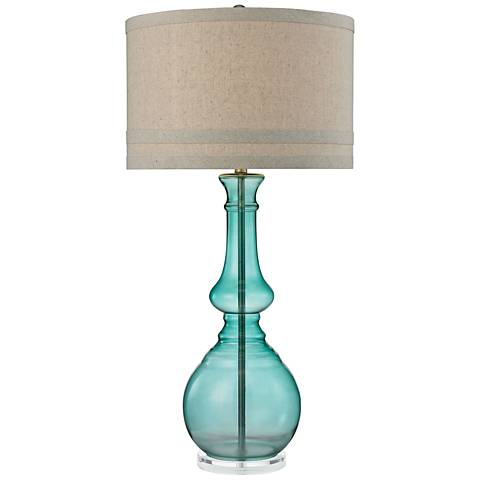 Callie Seaspray Green Tall Glass Table Lamp