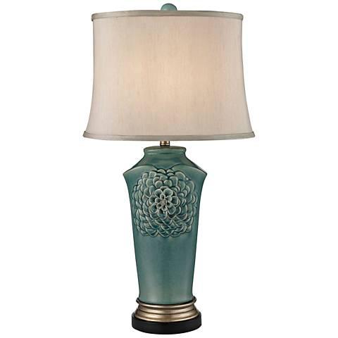 Organic Flowers Seafoam Glaze Ceramic Table Lamp