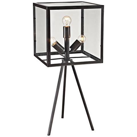 Workshop Glass Cube Aged Bronze Table Lamp