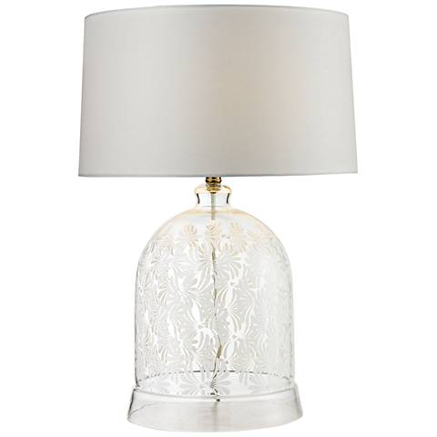 Mia Landscape Painted Bell Clear and White Glass Table Lamp