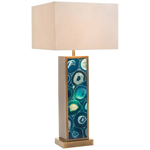 John Richard Ocean Blue Agate Table Lamp with Night Light