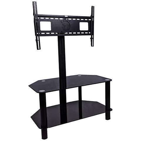 Sahara Black Raised-Mount 2-Shelf Flat Panel TV Stand