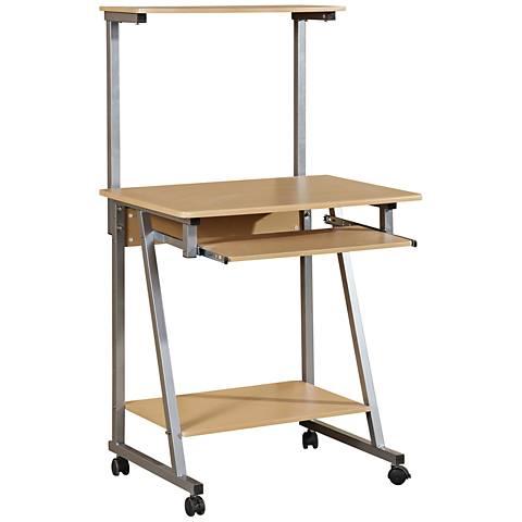Johnson Cherry Wood Computer Cart 4-Shelf Workstation