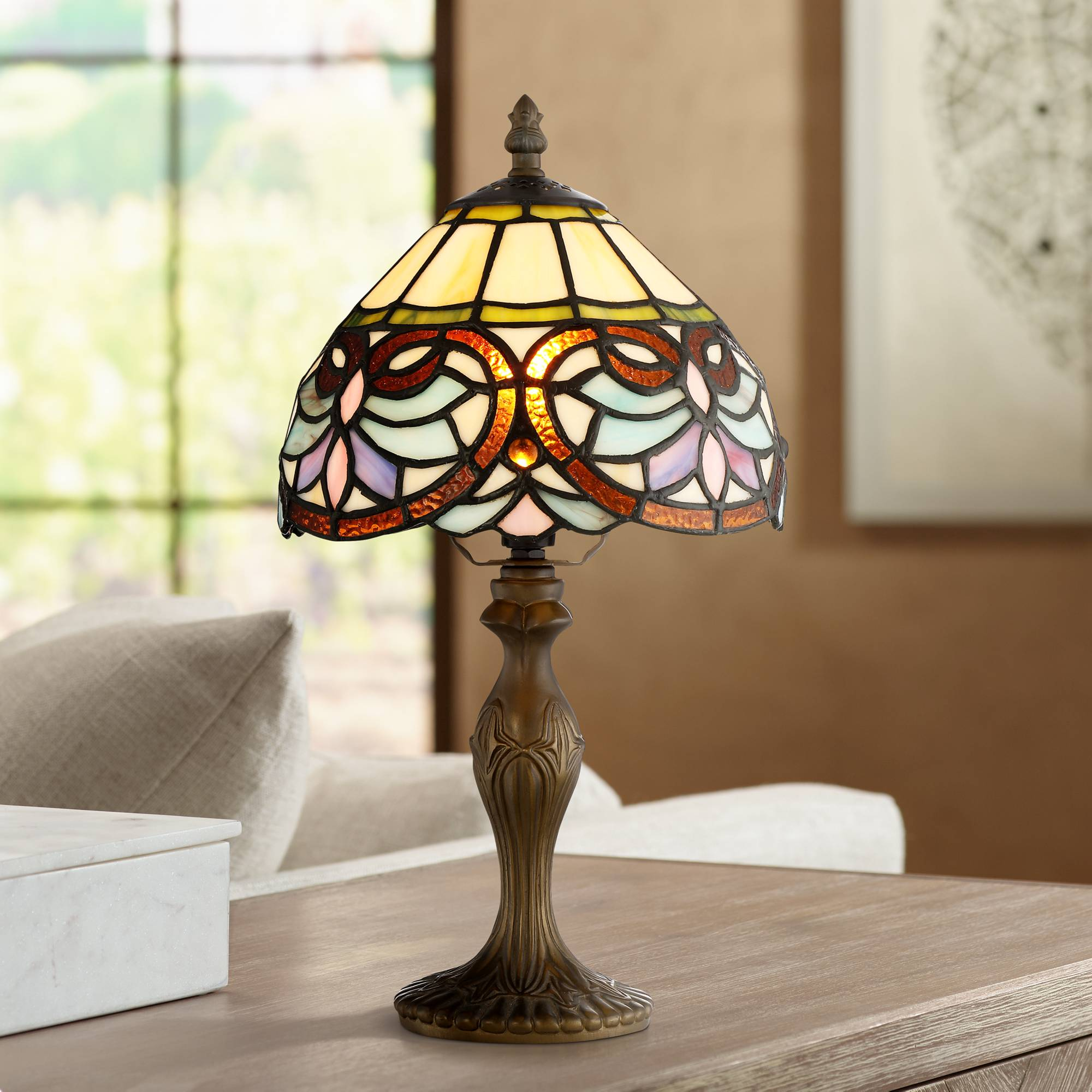 Details About Robert Louis Tiffany 13 1 2 High Marie Art Gl Table Lamp