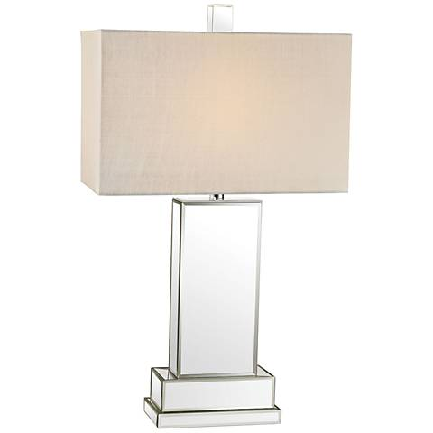 Sarah Block Clear Mirror and Chrome Table Lamp