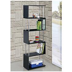 Snake Black Wood and Chrome 5-Shelf Bookcase