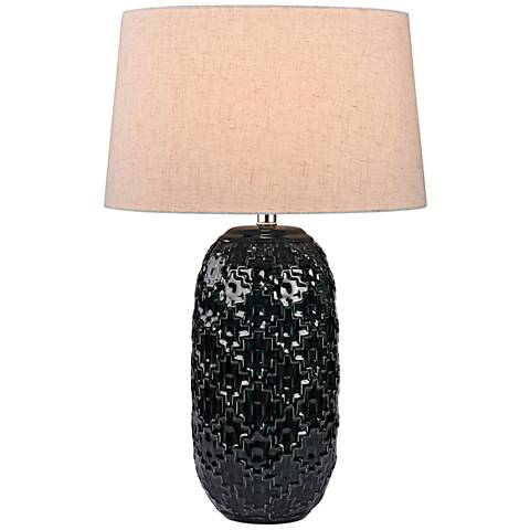 Alpha High Gloss Black Teal Ceramic Table Lamp