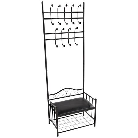 Mabuse Black Metal Entry Bench with Coat Hooks