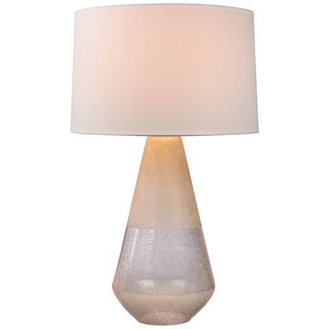 Epsilon Two-Tone Clear and Off-White Glass Table Lamp