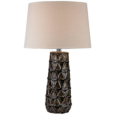 Mila Stacked Brown Pedals Chocolate Glaze Ceramic Table Lamp