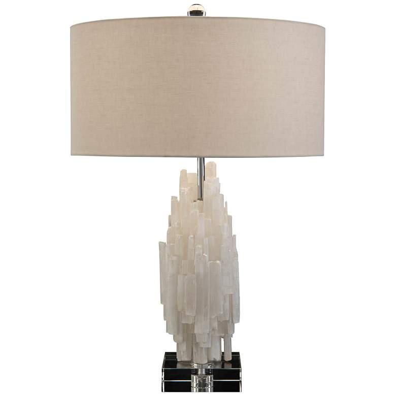John Richard Tiered White Selenite Crystalline Table Lamp