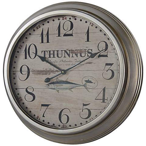 "Cooper Classics Yates Silver 26 1/4"" Round Wall Clock"