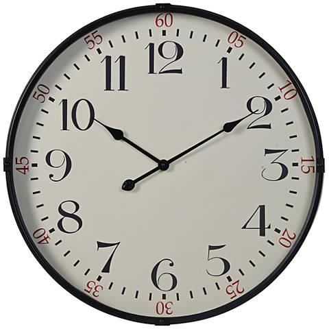 """Cooper Classics Morton Black 28"""" Round Wall Clock"""