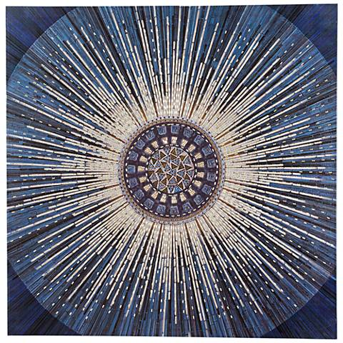 """Abstract Metallic Blue 36"""" Square Canvas Wall Art"""