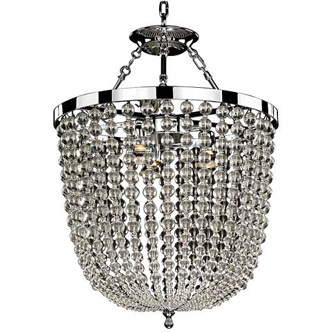 """Arcadia 19"""" Wide Chrome and Crystal Dual-Mount Chandelier"""
