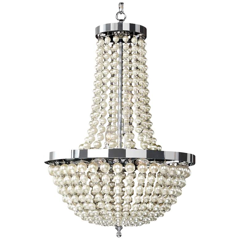 """Moscato 28 1/2"""" Wide Champagne Pearl 9-Light Chandelier"""