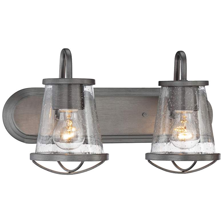 "Darby 9 3/4"" High Weathered Iron 2-Light Wall"