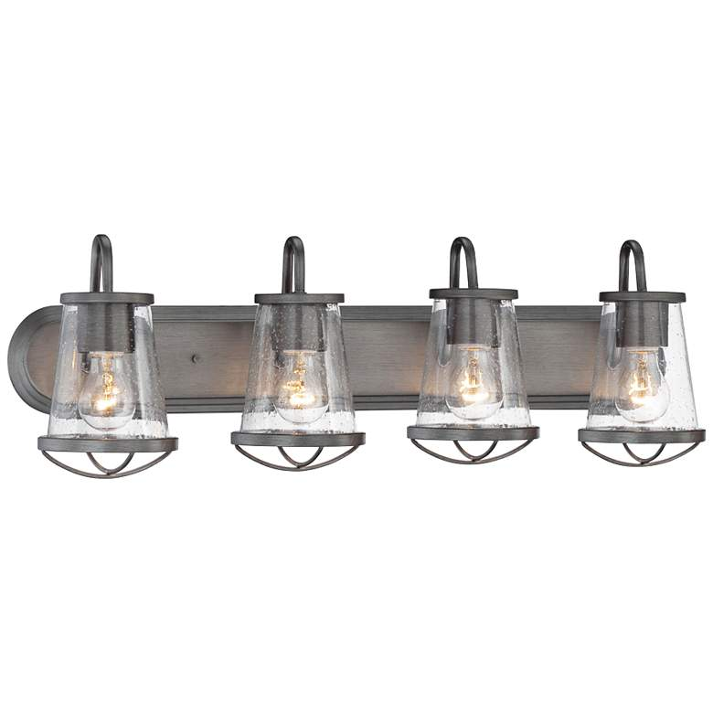 "Darby 30"" Wide Weathered Iron Bath Light"