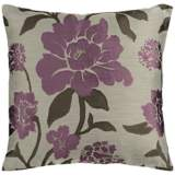 "Surya Blossom Neutral and Purple 18"" Square Throw Pillow"