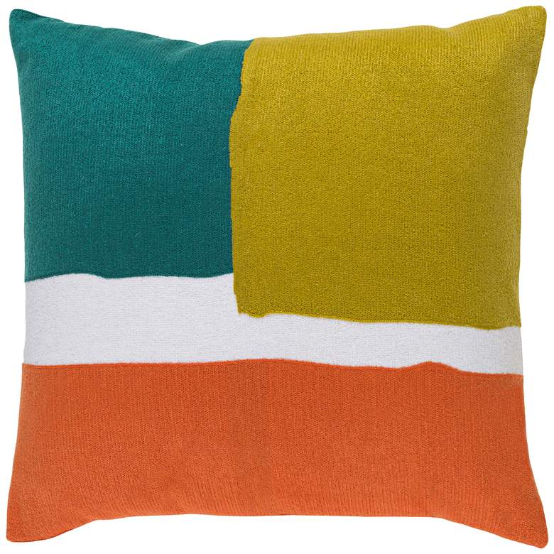 "Surya Harvey Green and Orange 20"" Square Throw Pillow"