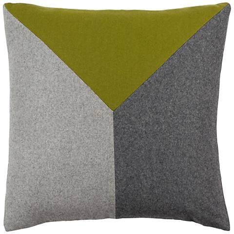 "Surya Jonah Green and Black 22"" Square Throw Pillow"
