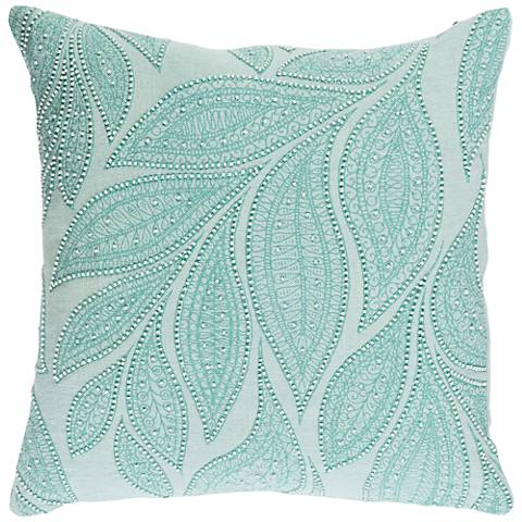 """Surya Tansy Green and Neutral 18"""" Square Throw Pillow"""