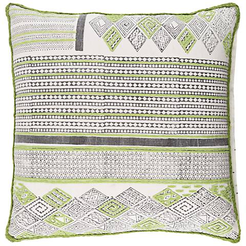 """Surya Aba Green and Brown 18"""" Square Throw Pillow"""