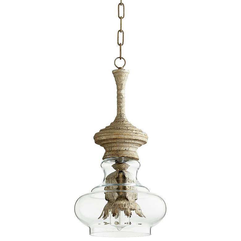 "Dresden Sawyer 10""W Whitewash and Glass Pendant Light"