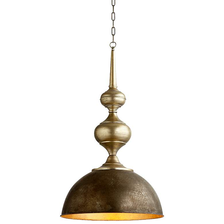 "Helen 21"" Wide Matte Bronze Bowl and Spire Pendant Light"