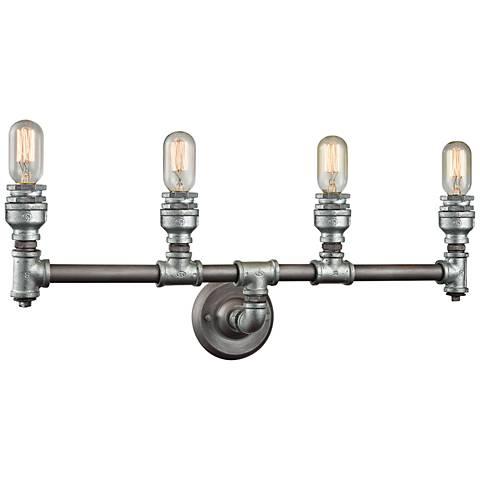 "Cast Iron Pipe 28"" Wide Weathered Zinc 4-Light Bath Light"