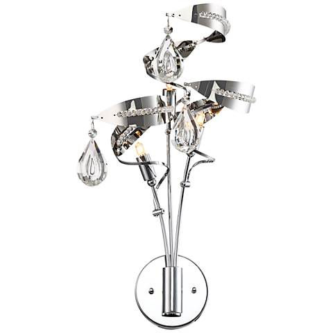 """Possini Euro Clarity 18"""" High Twirling Chrome Wall Sconce"""