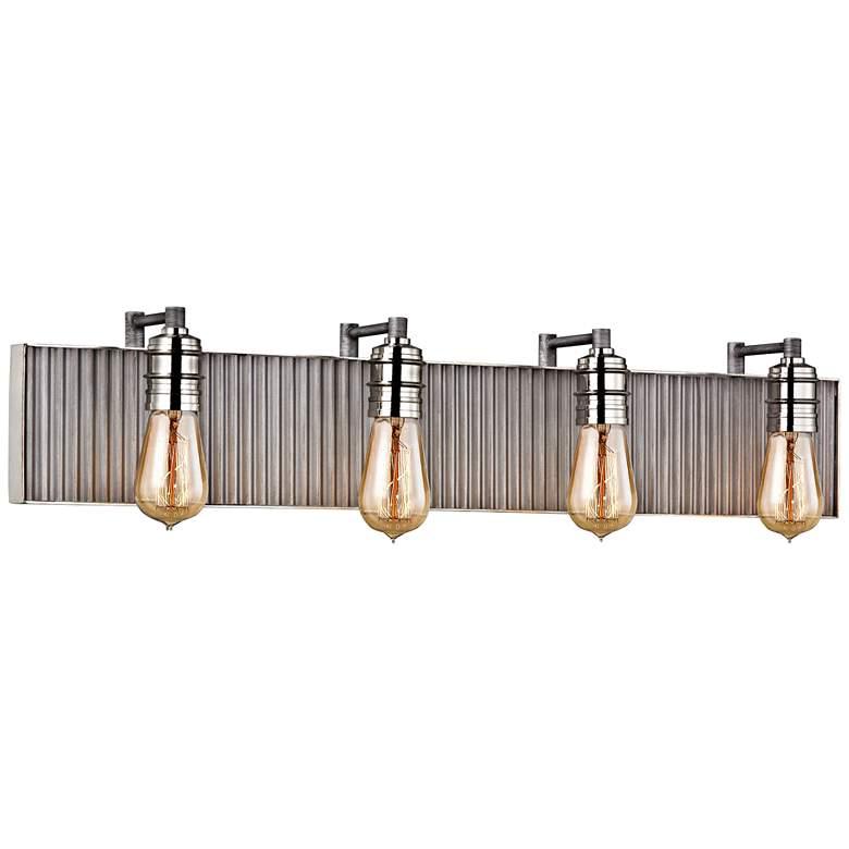 "Corrugated Steel 32""W Weathered Zinc and Nickel Bath Light"