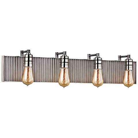 "Corrugated Steel 32""W Weathered Zinc and Nickel Bath Light"