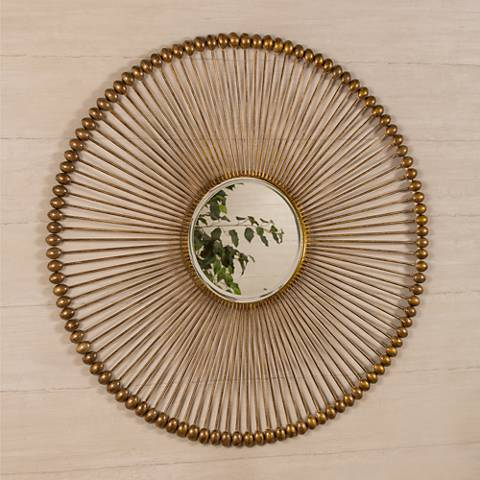 """Larkspur Antique Gold 36"""" Round Wall Mirror"""