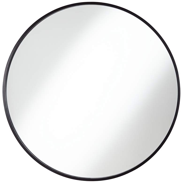 """Uttermost Mayfair Matte Black 34"""" Round Wall Mirror"""