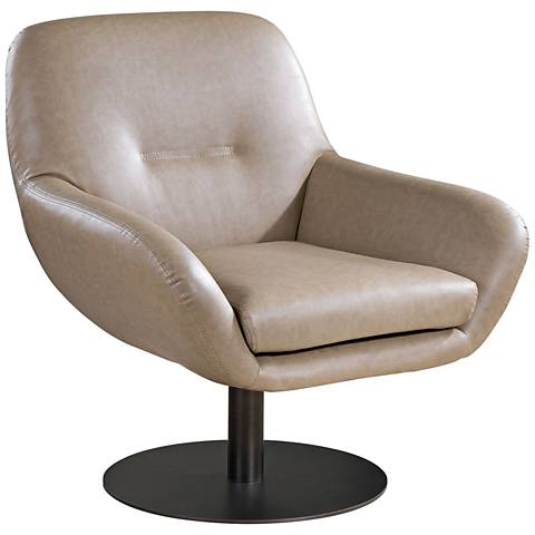 Uttermost Scotlyn Tan Faux Leather Modern Swivel Armchair