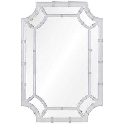 "Wheaton White 24 1/2"" x 36 1/2"" Bamboo Wall Mirror"