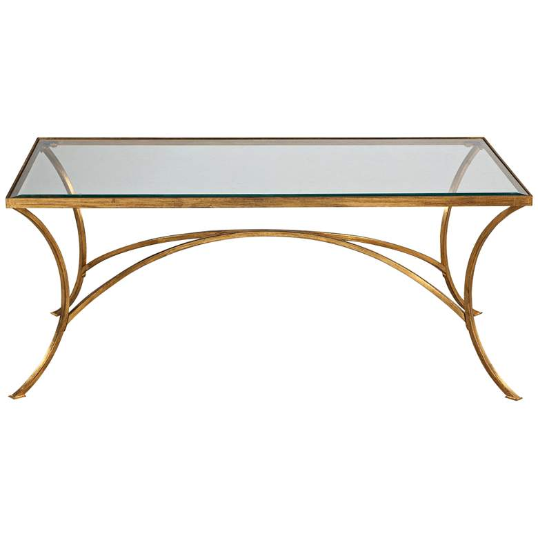 "Alayna 48"" Wide Antiqued Gold Rectangular Coffee Table"