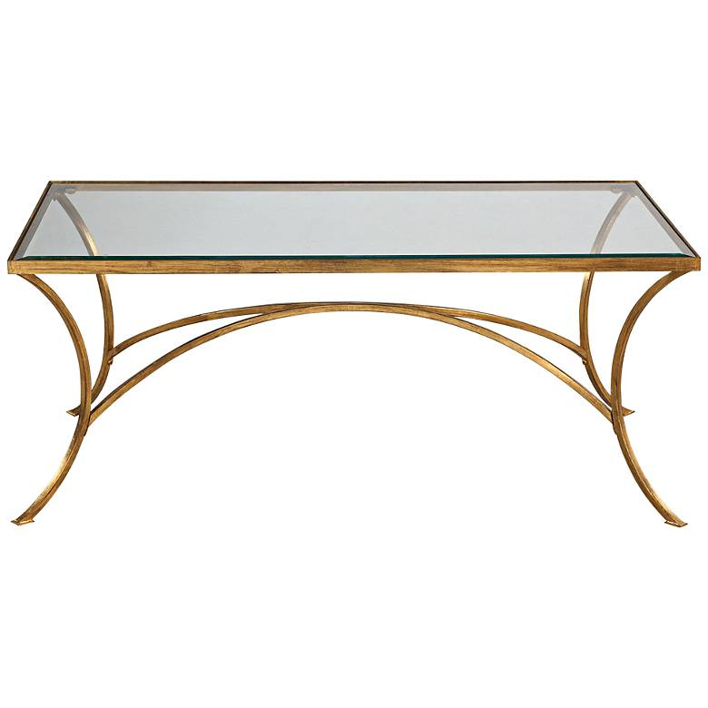 """Alayna 48"""" Wide Antiqued Gold Rectangular Coffee Table"""