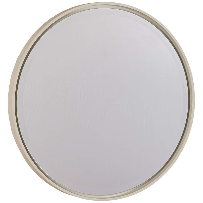 """Cooper Classics Hadly Glossy White 30"""" Round Wall Mirror"""
