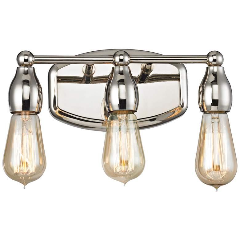"Vernon 12"" Wide Polished Nickel 3-Light Bath Light"